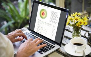 Eine Frau arbeitet am Laptop im TCM-Gesundheitsportal